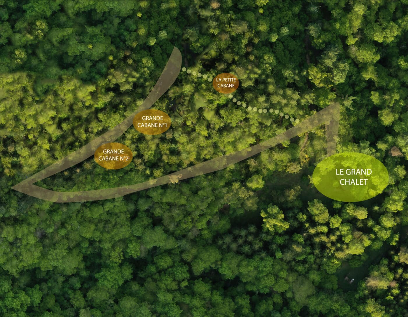 Plan aérien situation des cabanes - Domaine oZ'Arbres